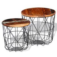 Zestaw 2 Okrągłych Stolików Z Drewna Odzyskanego, 35 I 45 Cm