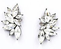 Kolczyki srebrne KRYSZTAŁOWE skrzydła kwiaty BŁYSZCZĄ