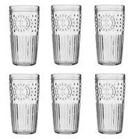 Szklanka wysoka do wody drinków napojów bezbarwna MAROCCO 434 ml komplet zestaw 6 sztuk  etniczny wzór