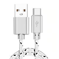 Kabel nylonowy do ładowania i transmisji danych, USB / USB- typ C, biały, 1m