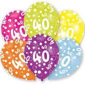 Balony 40 URODZINY cyfra BALON mix kolorowe 6 szt