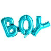 BALON foliowy napis BOY niebieski baby shower XL