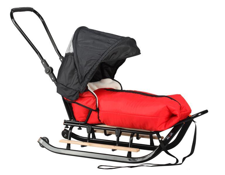 SANKI dla dzieci z budką (czarne) +śpiwór + pchacz + podnóżki + kółka zdjęcie 1