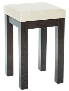 TABORET ERGO z miękkim siedziskiem stołek DREWNIANY bejcowany CZARNY