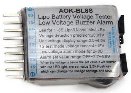 Tester Pakietów Lipo/li-Ion/limn/life 1-8S Z Głośnym Alarmem I Led