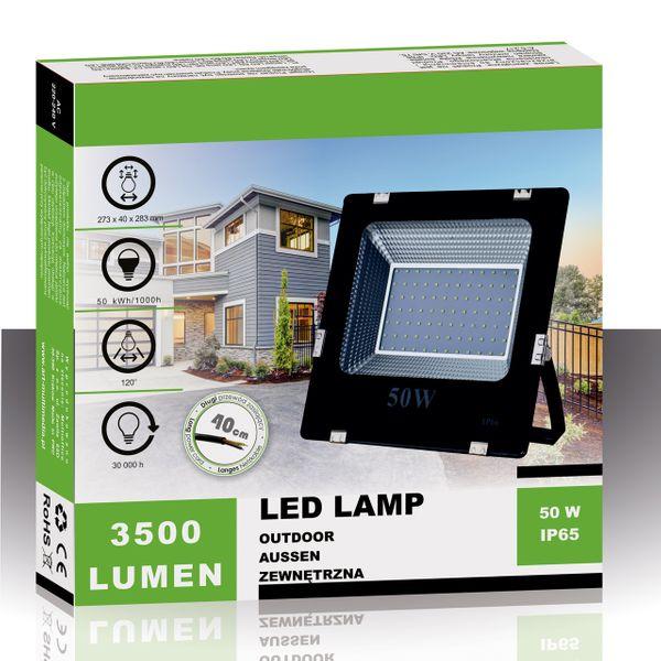 Halogen lampa LED naświetlacz SMD 50W SLIM IP65 6500K-CW zdjęcie 4