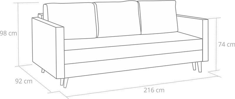 Kanapa rozkładana z funkcją spania na sprężynach, zmywalna sofa Lahti zdjęcie 10