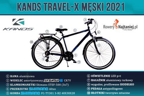 """ROWER 28 Męski KANDS Travel-X Alu KREMOWY rama 21""""! 2021 na Arena.pl"""