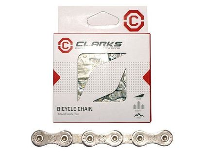 """Łańcuch rowerowy CLARK'S YBN C8 SHIMANO CAMPAGNOLO SRAM (8 Biegów, CP 1/2""""x3/32"""", dł.116 ogniw, szer.7.1mm, spinka do łańcucha) Standard srebrny"""