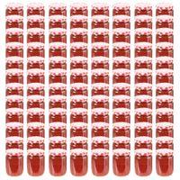 Szklane Słoiki Na Dżem, Biało-Czerwone Pokrywki, 96 Szt, 230 Ml