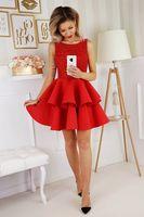 Wieczorowa sukienka z wyszywaną górą i falbaniastym dołem - Czerwony 38