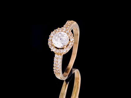 P466 Złoty pierścionek z cyrkoniami 585 /Jubi