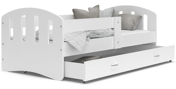 Łóżko HAPPY  200x90 BIEL szuflada + materac