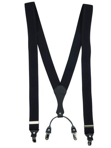 Czarne klasyczne szelki męskie do spodni SZ1A Długość szelek przed rozciągnięciem - 110cm - rozmiar uniwersalny na Arena.pl