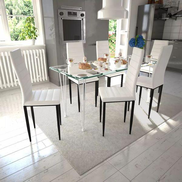 Zupełnie nowe 6 wysokich, białych krzeseł do jadalni + stół ze szklanym blatem KC33