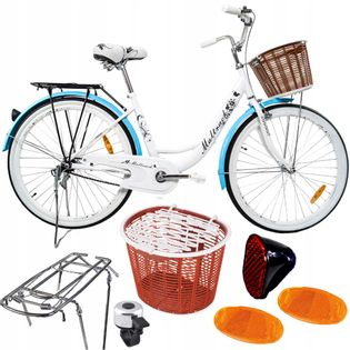 ROWER MIEJSKI 26'' Citybike WHITE Kosz Bagażnik