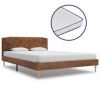 Łóżko Z Materacem Memory, Sztuczna Skóra Zamszowa, 140 X 200 Cm