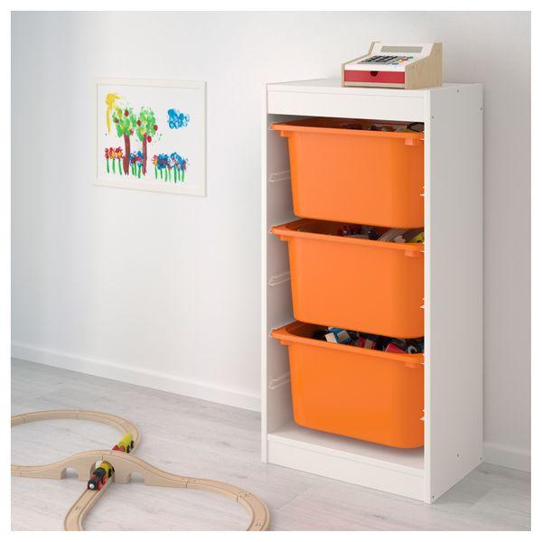 Ikea Trofast Regał Na Zabawki 3 Pojemniki Białypomarańczowy