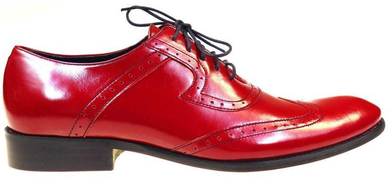 Czerwone męskie buty wizytowe - brogsy F4 T46 Rozmiar Obuwia - 43 zdjęcie 1