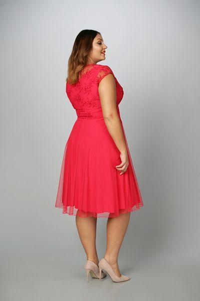 387319b43f Sukienka STELLA tiulowo-koronkowa malina 42