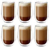 Szklanki Termiczne z Podwójną Ścianką Kawy Latte Herbaty 400ml 6 sztuk