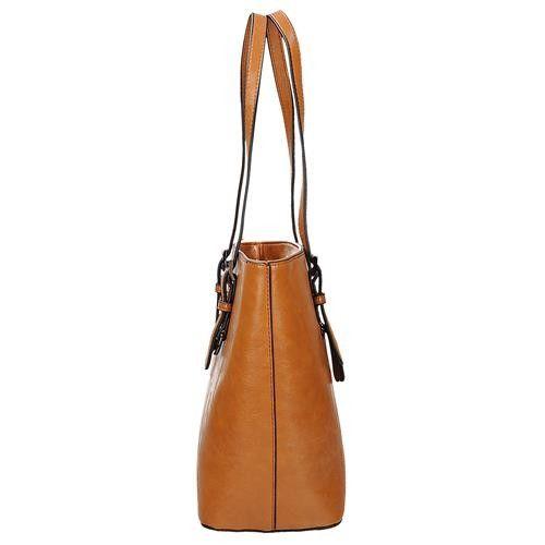 e50ab52da0f6b Klasyczna brązowa lekko połyskująca torebka damska shopperka w kolorze  koniakowym Ines Delarue zdjęcie 2