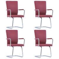 Krzesła jadalniane 4 szt. czerwone sztuczna skóra VidaXL