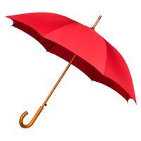 Automatyczna parasolka z drewnianą rączką, czerwona