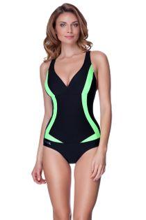 Kostium pływacki GRETA Rozmiar - Stroje damskie - 42(XL), Kolor - Stroje damskie - Greta - 01 - czarny / zielony