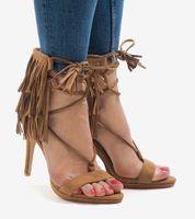 Beżowe sandały na szpilce zamsz boho 8125-1 37