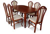Stół i krzesła (S6 + 6 x K15), krzesło, jadalnia, pokój, salon