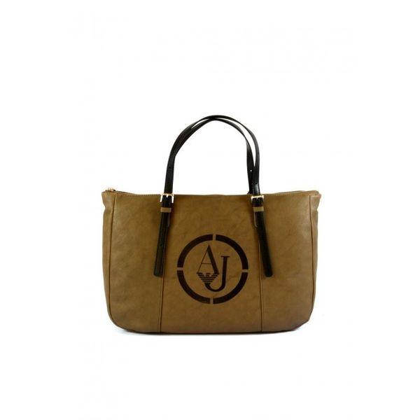 Armani Jeans torebka damska skórzana brązowa shopper na ramię zdjęcie 1