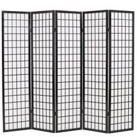 Składany parawan 5-panelowy w stylu japońskim 200x170 czarny VidaXL