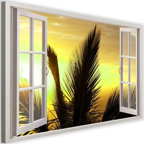 Obraz na płótnie - Canvas, okno - palmy 120x80 zdjęcie 1