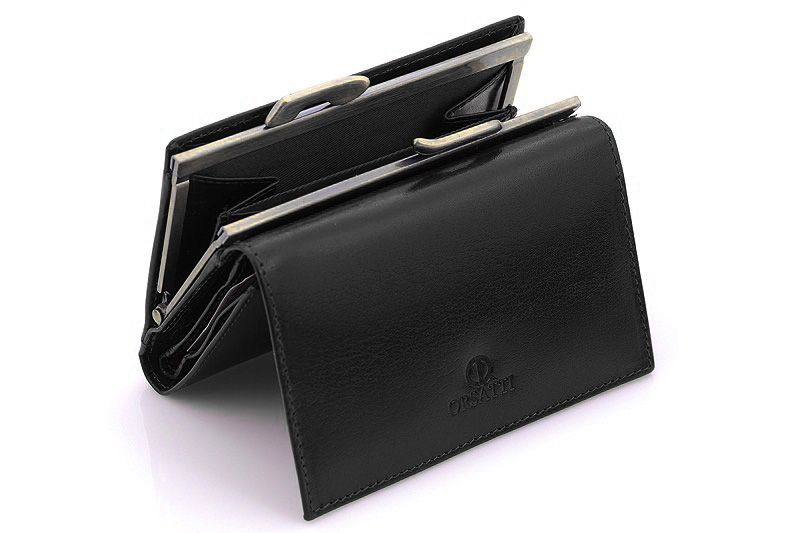 Skórzany portfel damski Orsatti D-02A w kolorze czarnym zdjęcie 5
