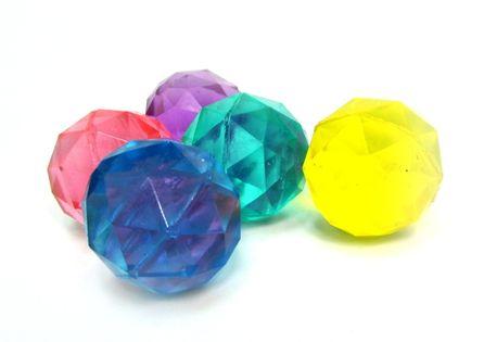 Piłeczki KAUCZUKOWE kolorowe diamenty 2,5cm 5szt