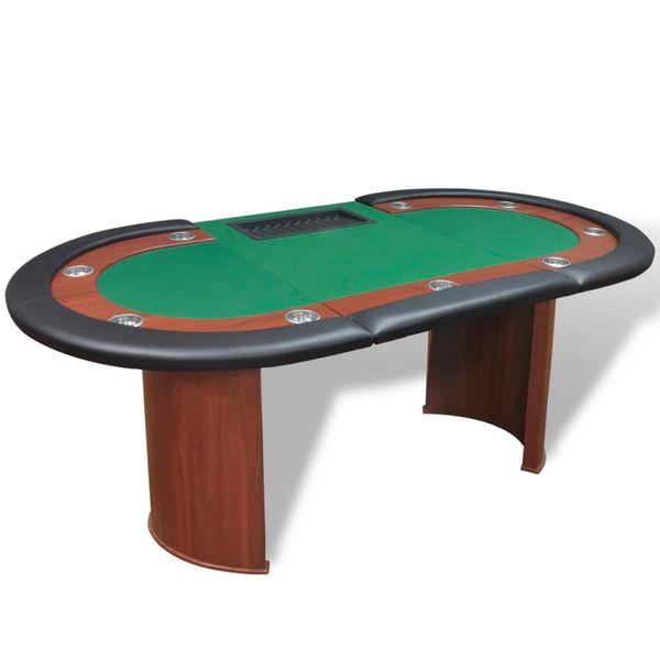 Stół do pokera dla 10 graczy z tacą na żetony, zielony zdjęcie 4