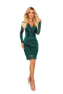 Koronkowa sukienka z dekoltem w serek - Zielony XXL