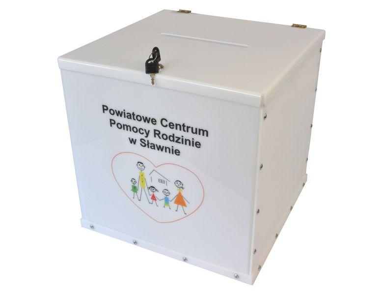 Urna skarbonka puszka skrzynka na dokumenty z LOGO 45x45x45 cm plexi na Arena.pl