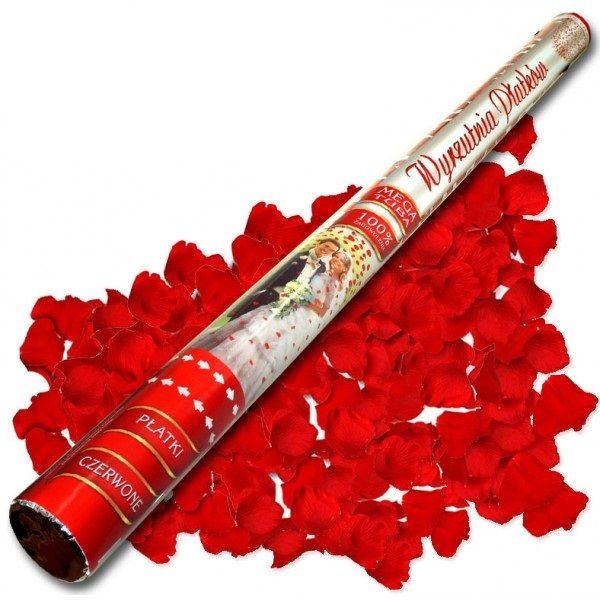 Konfetti 80cm czerwone płatki róż zdjęcie 1