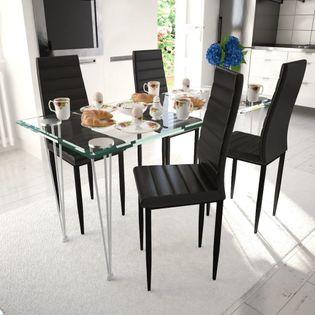 Krzesła Do Jadalni, 4 Szt., Smukła Linia, Czarne