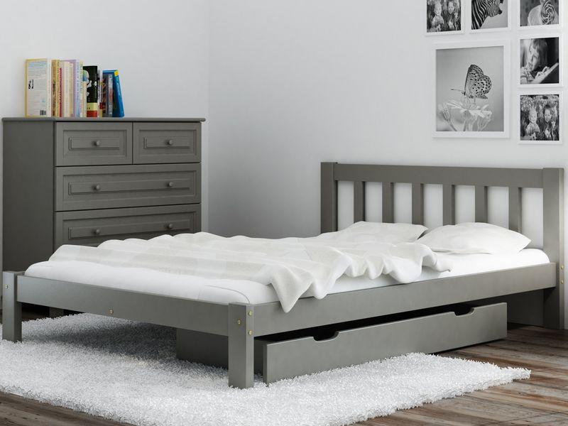 łóżko 120x200 Wysokie Ofelia Białe Szare Stelaż