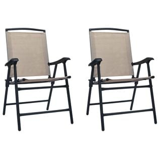 Lumarko Składane krzesła ogrodowe, 2 szt., tworzywo textilene, taupe