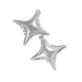 Balony foliowe gwiazdki srebrne 2 sztuki czteroramienne Kolor - Srebrny