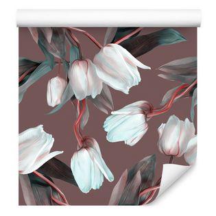 Tapeta do sypialni tulipany liście kwiaty rośliny