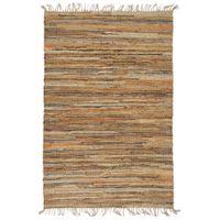 Ręcznie tkany dywan Chindi 160x230 cm, skóra i juta, jasny brąz