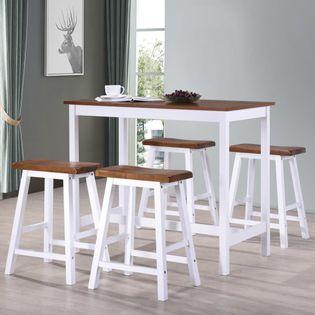 Lumarko Stół barowy i taborety z litego drewna, 5 elementów;