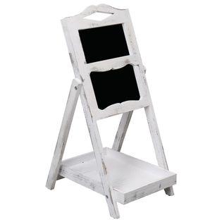 Tablica kredowa na stojaku, biała, 33 x 39 x 75 cm, drewno
