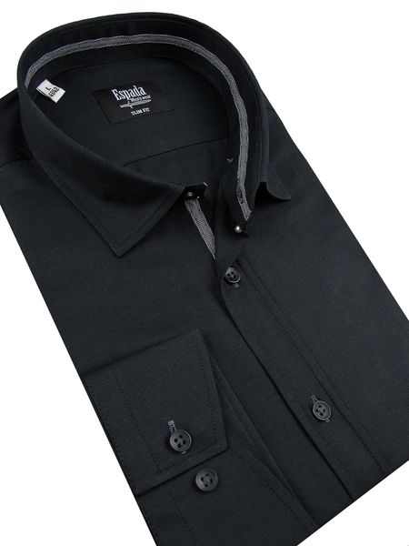 1e9d6ceafd58cd Koszula Męska Espada gładka czarna SLIM FIT długi rękaw A056 39/40 zdjęcie 2