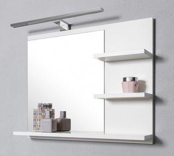 Białe lustro z 3 półkami i kinkietem LED, lustro łazienkowe, wiszące